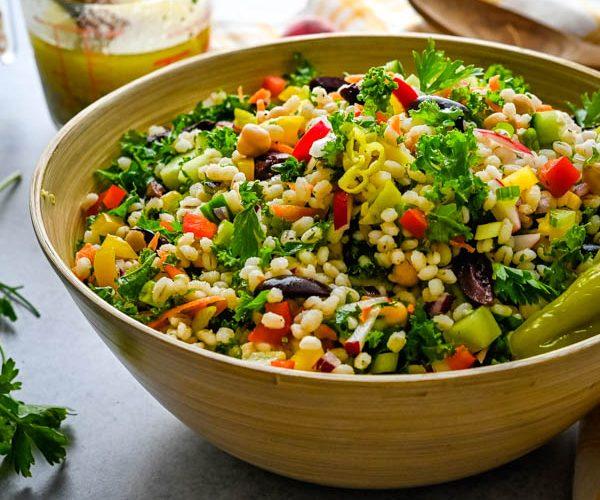 Healthy Pearl Barley and Kale Chopped Salad Recipe