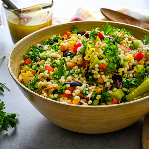 Healthy Pearl Barley and Kale Chopped Salad Recipe