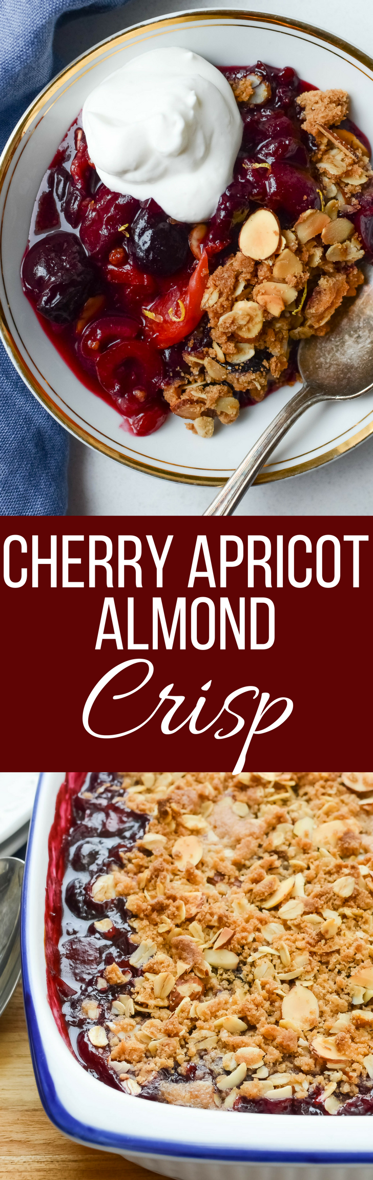 Cherry Apricot Almond Crisp is the best way to use up cherries and apricots.  This simple recipe is topped with a heavenly cinnamon oat almond crumble.