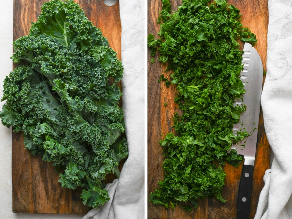 chopping kale finely on a board.