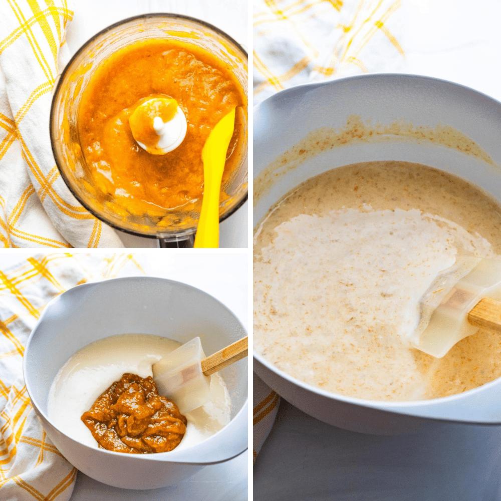 Mixing roasted pureed peaches into bourbon ice cream base.