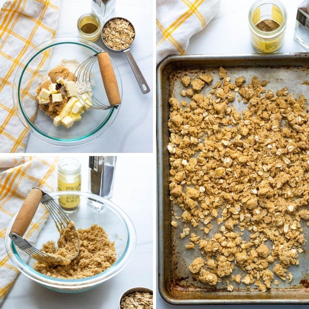 process of making oatmeal streusel.