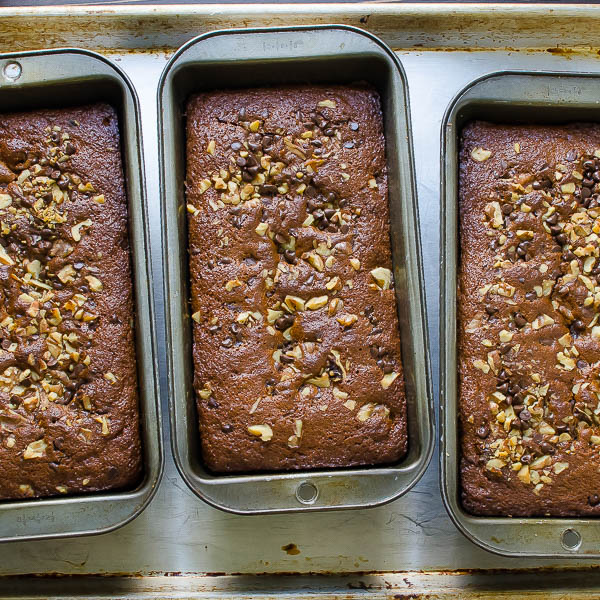 Chocolate Chip Banana Bread freshly baked.