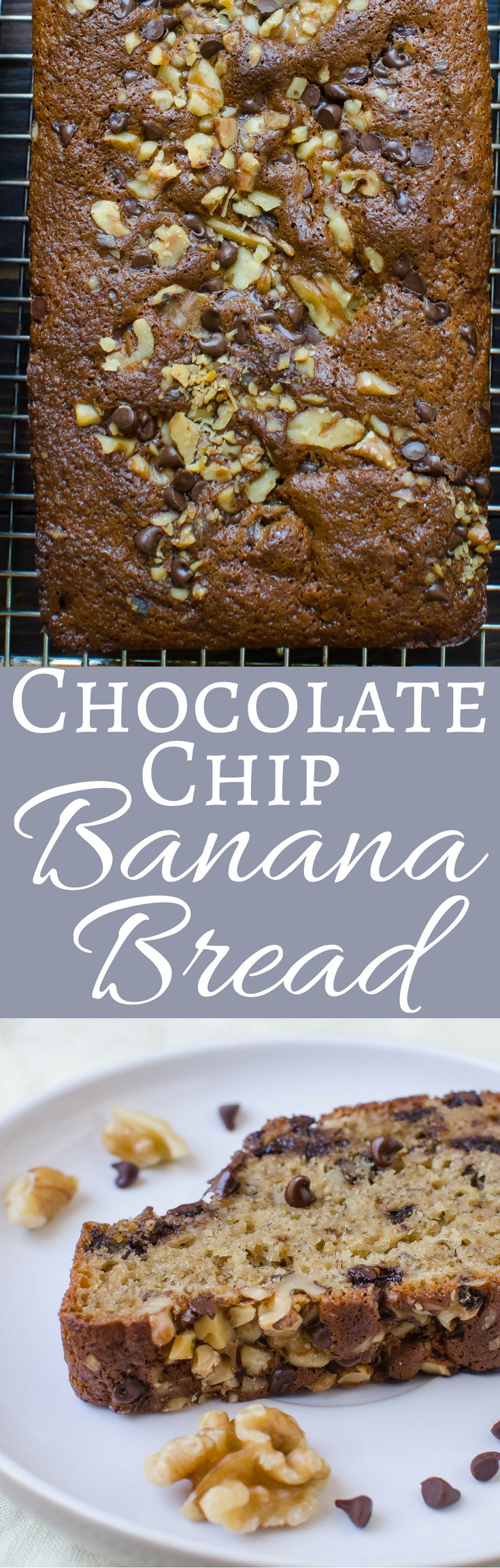 Put your over ripe bananas to good use in this easy low-fat chocolate chip banana bread recipe with crunchy, toasted walnuts!  Makes three loaves!