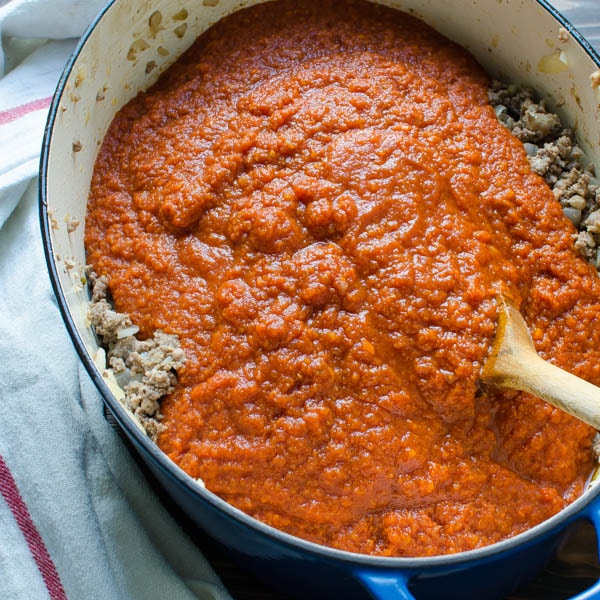 marinara sauce in a pot