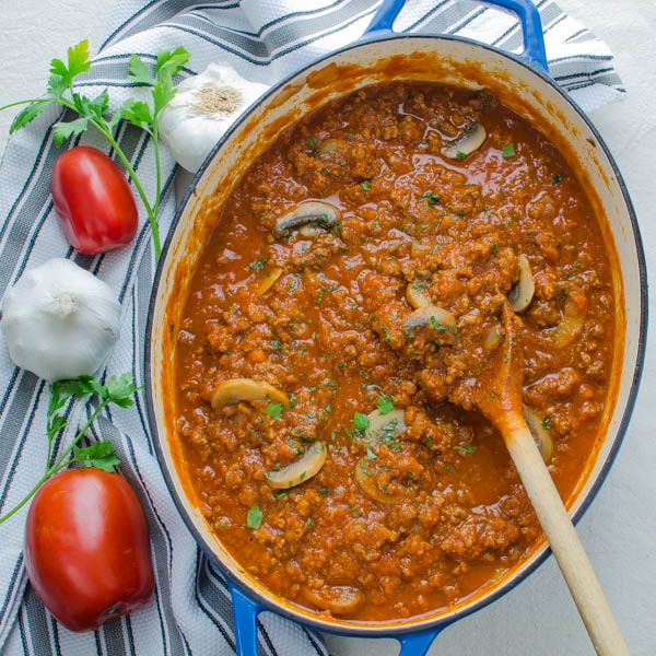 Sausage and Mushroom Ragout with garlic, tomatoes
