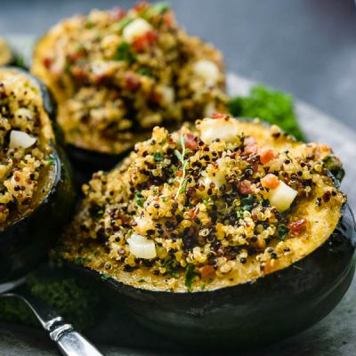 Apple Quinoa Stuffed Acorn Squash with Crispy Pancetta