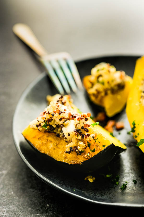enjoying the healthy acorn squash recipes -- the squash is tender, but firm with a savory filling.