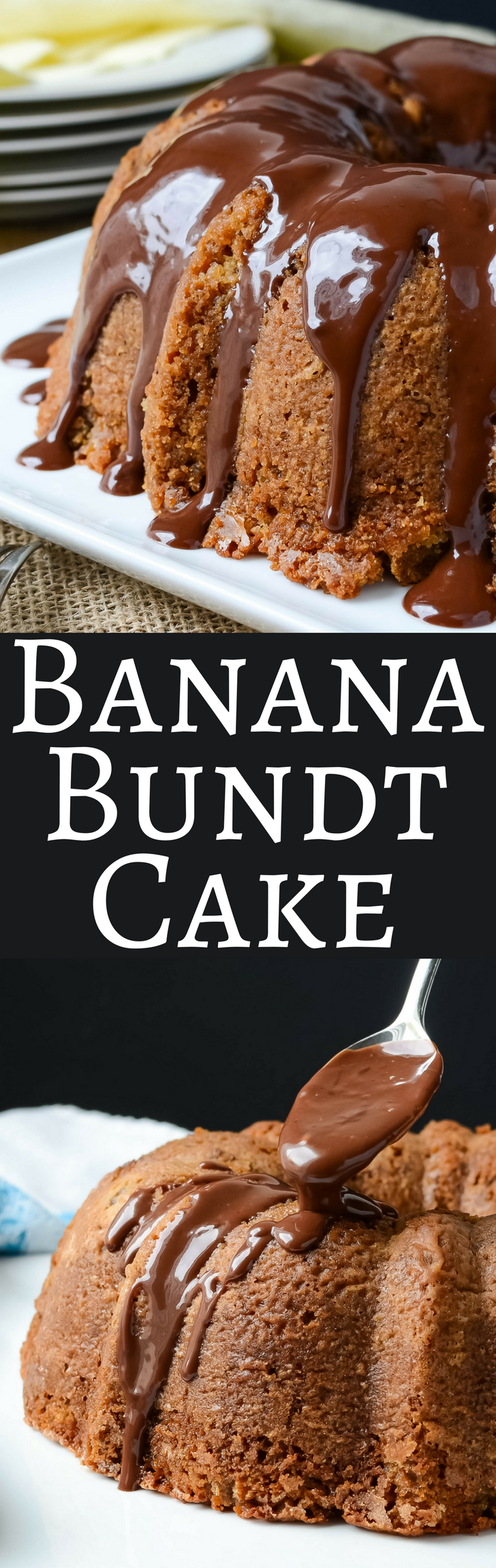 This easy recipe makes a super moist Banana Bundt Cake with a deep, dark chocolate ganache!  There won't be leftovers!
