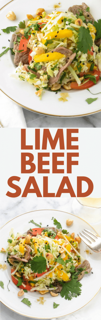 This Asian-inspired salad recipe is extraordinary! Lime Beef Salad has a pho-like preparation and a sublime marinade, plus mango, cabbage, peanuts and red peppers. A delicious, healthy, low-carb meal. #asian #asianrecipes #salad #saladrecipes #beef #beefsalad #ginger #garlic #jalapenos #healthysalad #mango #cabbage #bellpeppers #lowcarbmeals #healthydinnerrecipe #healthydinner