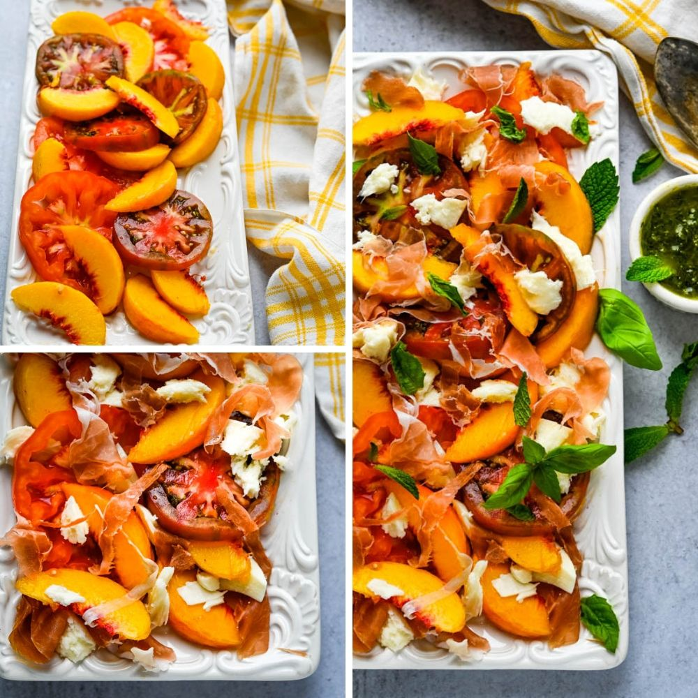assembling peach and tomato salad.