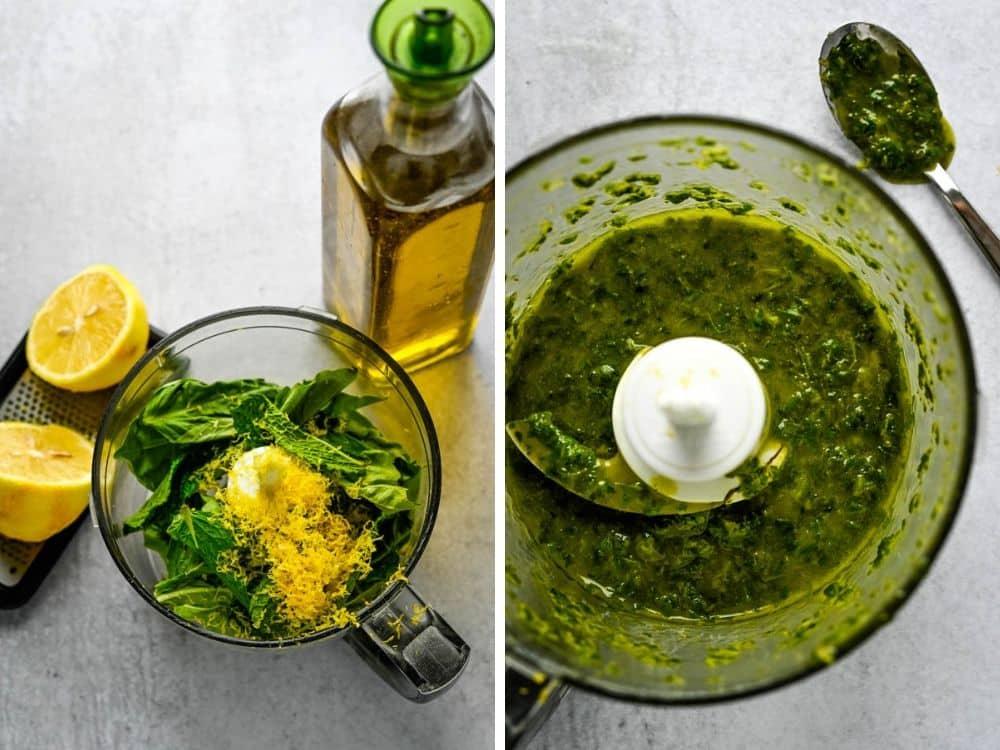 making basil herb sauce in a blender.