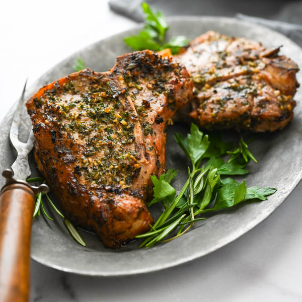 Grilled Veal Chops with Garlic Herb Crust