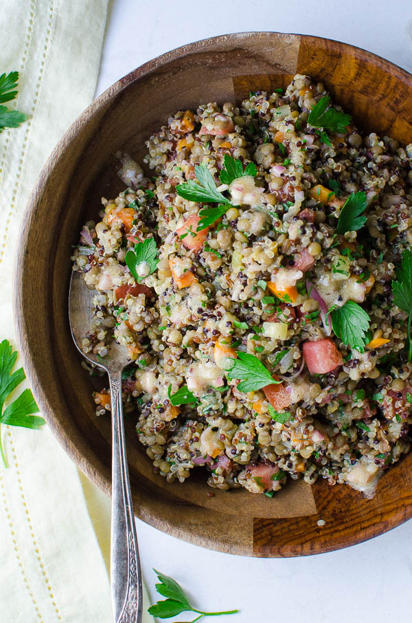 Tangy Lentils and Quinoa from overhead
