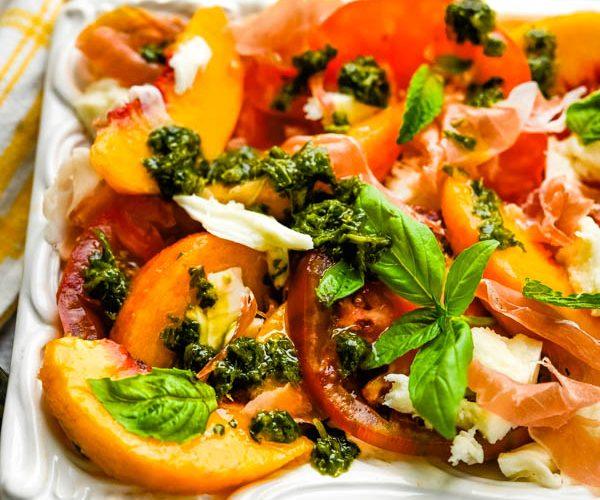 Tomato Peach Caprese with Basil Herb Sauce