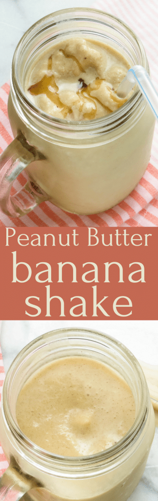 This healthy nice-cream shake is creamy, lightly sweet with a homey taste of peanut butter, bananas and honey. Elvis' favorite! #shake #smoothie #nicecream #nicecreamshake #peanutbutter #banana #honey #milk #peanutbuttershake #vegetarian #healthysnacks #vitamix #blendersnacks #ice #easysnacks #easyhealthyfood