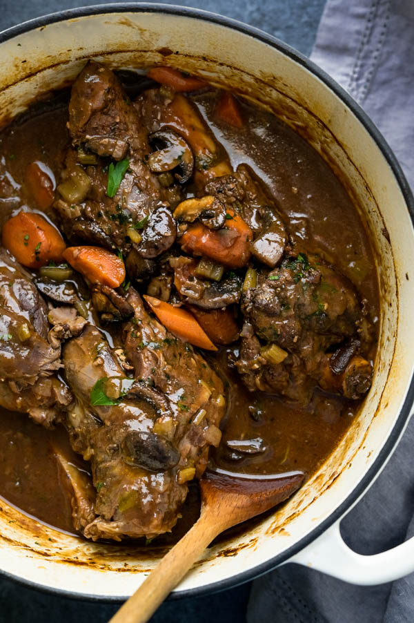 ready to eat braised lamb shanks in a dutch oven