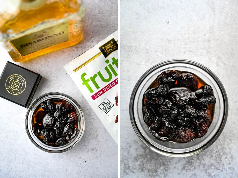 dried cherries macerating in Amaretto recipe.