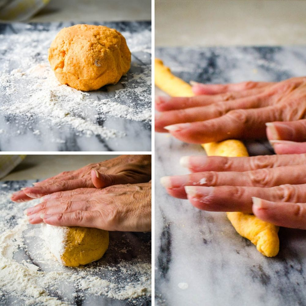 rolling the dough for the ricotta gnocchi recipe.