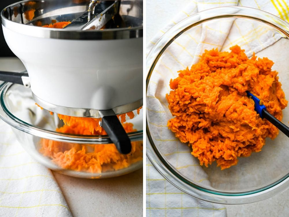 Sweet potato puree for the ricotta gnocchi recipe.