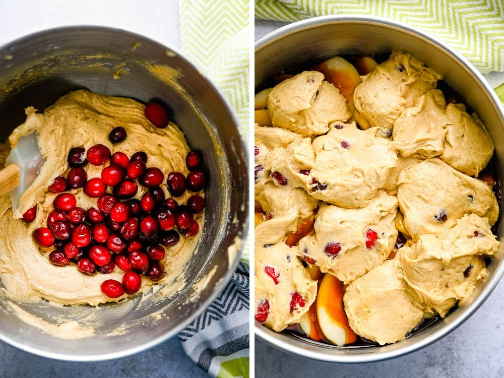 adding cranberries to pear cake batter and pouring over caramelized pears.