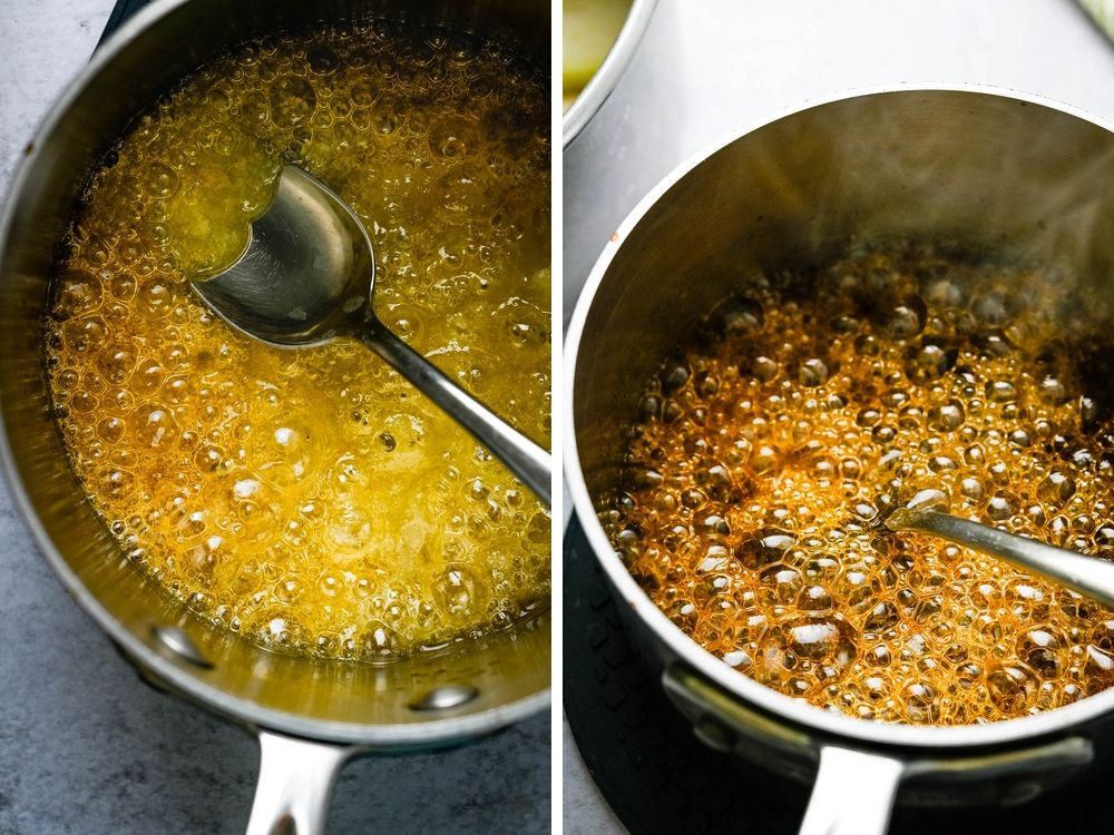 making caramel for the caramelized pears.