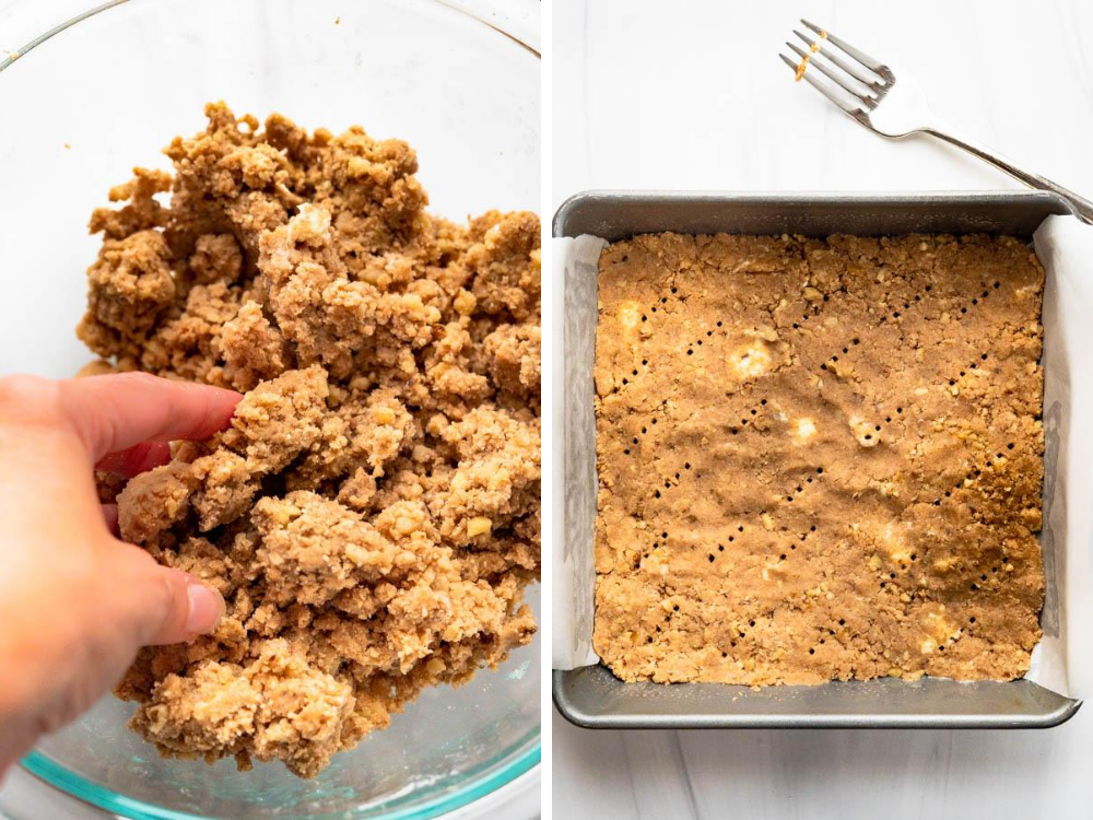 patting cinnamon walnut crust into a baking pan.