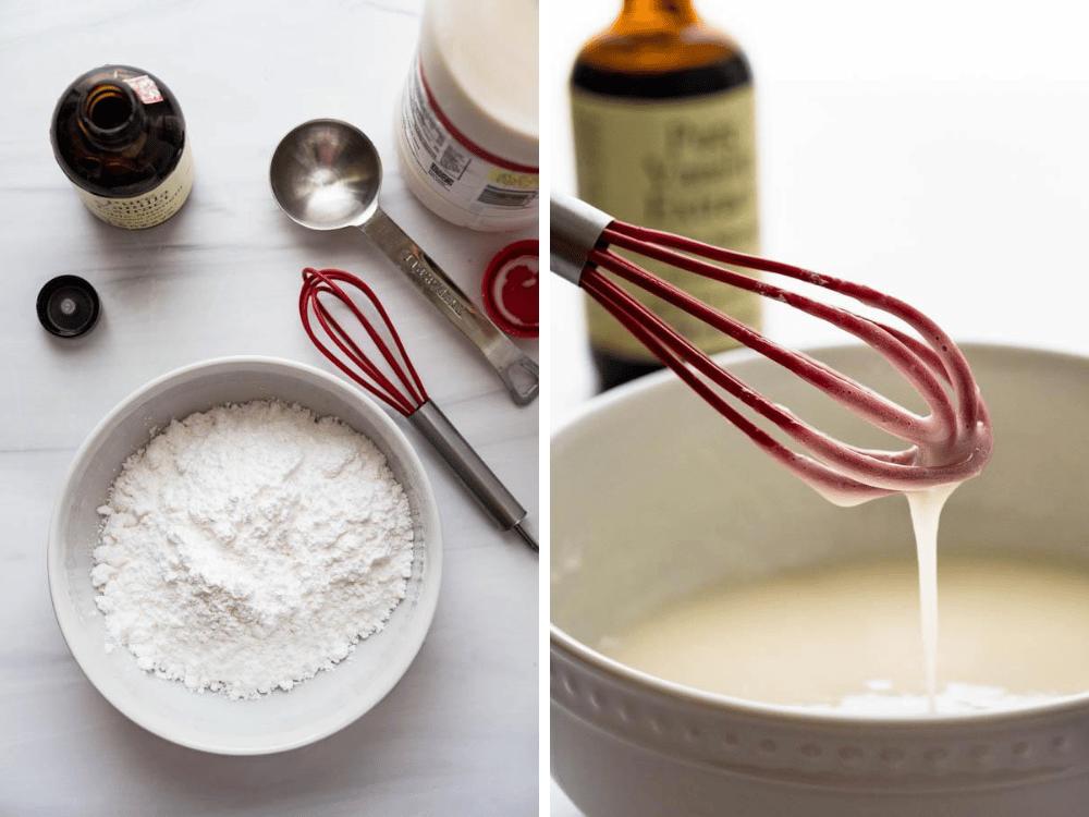 making powdered sugar glaze for apple crumble bars.
