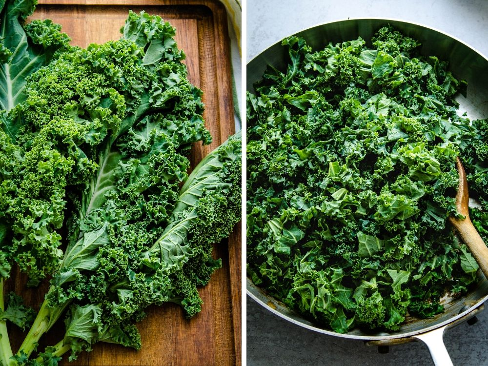 sauteeing the kale for vegetarian quiche recipe.