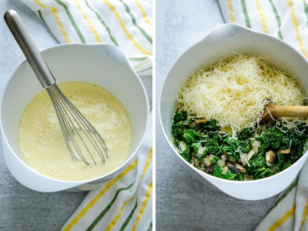 making custard and mixing gruyere with vegetables. This easy vegetarian recipe comes together quickly.