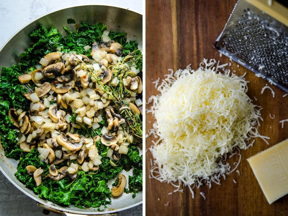 mixing sauteed kale, mushroom and onions.