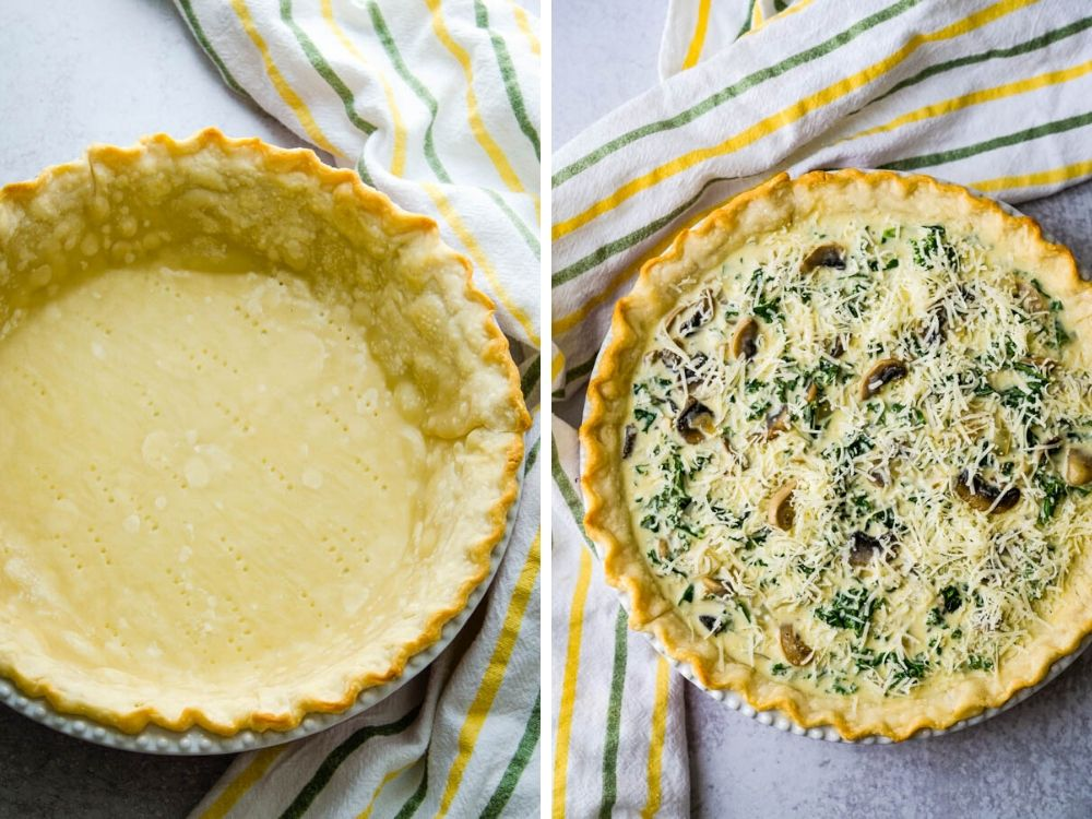 Filling the pie pastry with vegetarian custard blend.