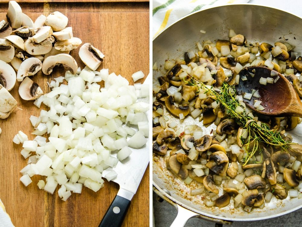 sauteeing mushrooms and onions with thyme.