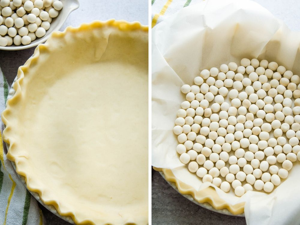 filling a pie pastry with pie weights to blind bake.