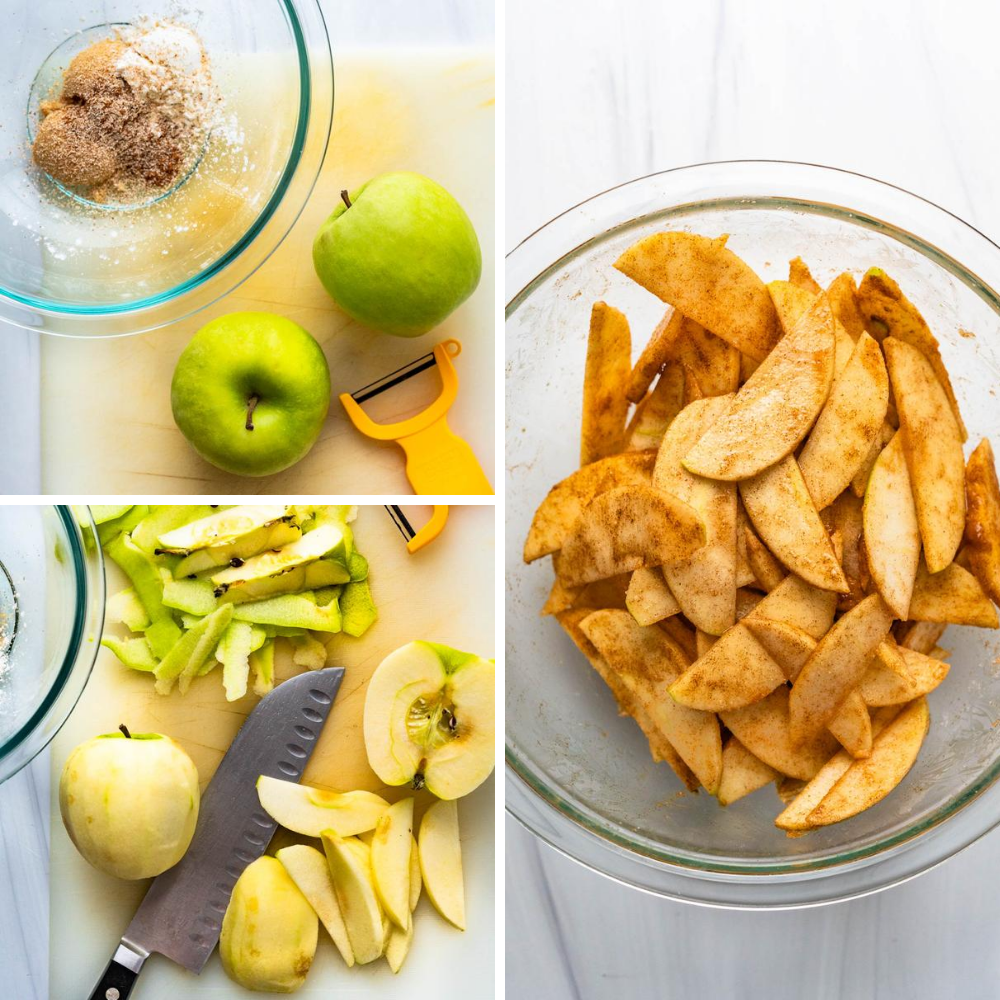 peeling, slicing and spicing Granny Smith apples.