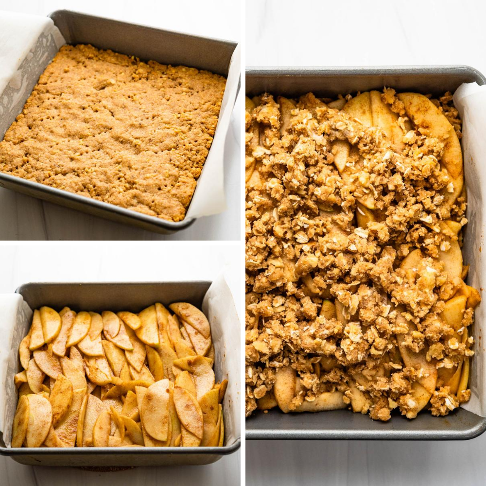 layering the apple bars with oatmeal streusel topping.