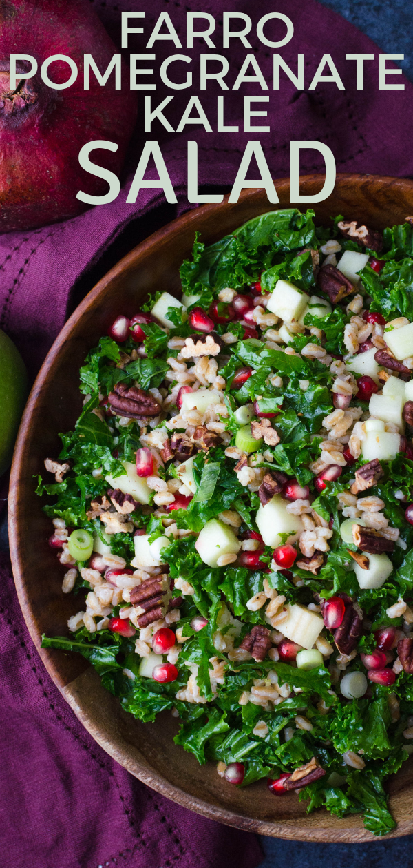 Fall side dishes don't have to be heavy. Farro pomegranate kale salad is an easy farro salad recipe. With lemon dressing, it's a yummy vegan kale salad. #vegan #vegetarian #kale #pomegranate #farro #apple #pecans #lemondressing #kalefarrosalad #farrorecipesvegan #farrosaladrecipe #vegankalesalad #pomegranatekalesalad #applepomegranatesalad #fallsaladideas #fallsaladrecipes #fallsidedishes #farrorecipes #kalerecipes #pomegranaterecipes