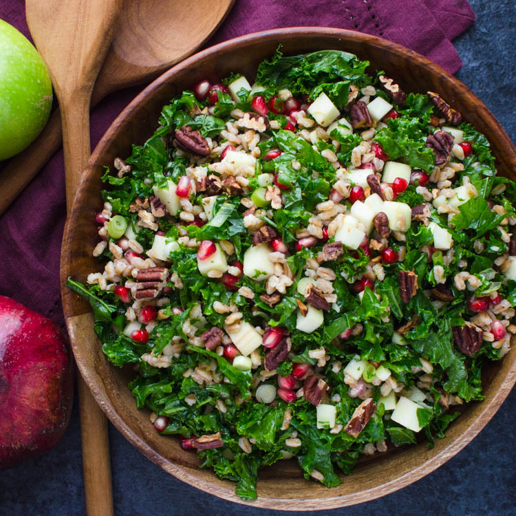 Farro Pomegranate Kale Salad