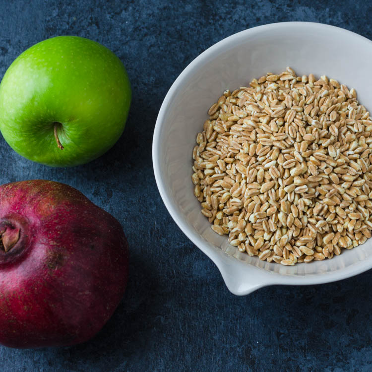 farro, pomegranate and apple for farro salad recipe.