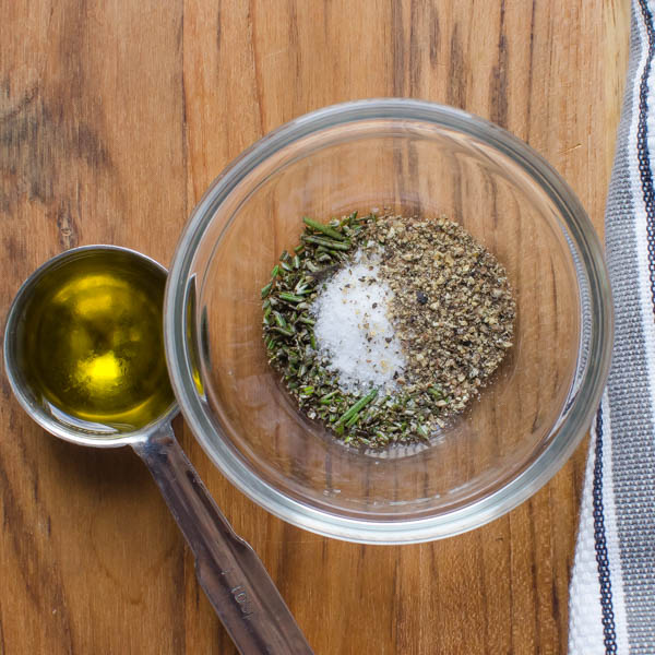 rosemary, salt and pepper with olive oil