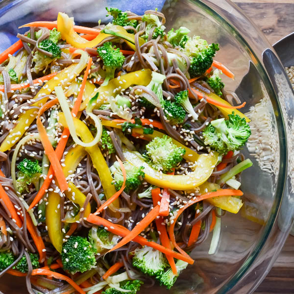 Cold Soba Salad with sesame seeds