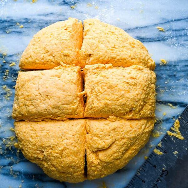 dividing the dough.