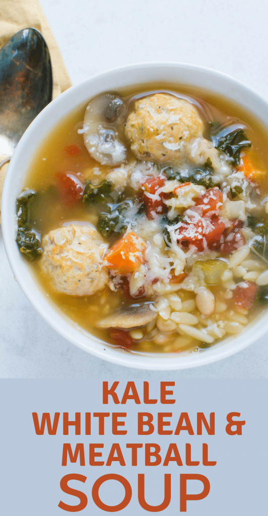 Need a healthy winter soup recipe? Kale, White Bean and Meatball Soup with orzo, mushrooms and tomatoes will fill you up! Healthier with turkey meatballs. #soup #wintersoup #fallsoup #meatball #turkeymeatballs #orzo #whitebeans #beansoup #homemadesoup #kale #healthysoup #mushrooms #chickenbroth #easysouprecipe