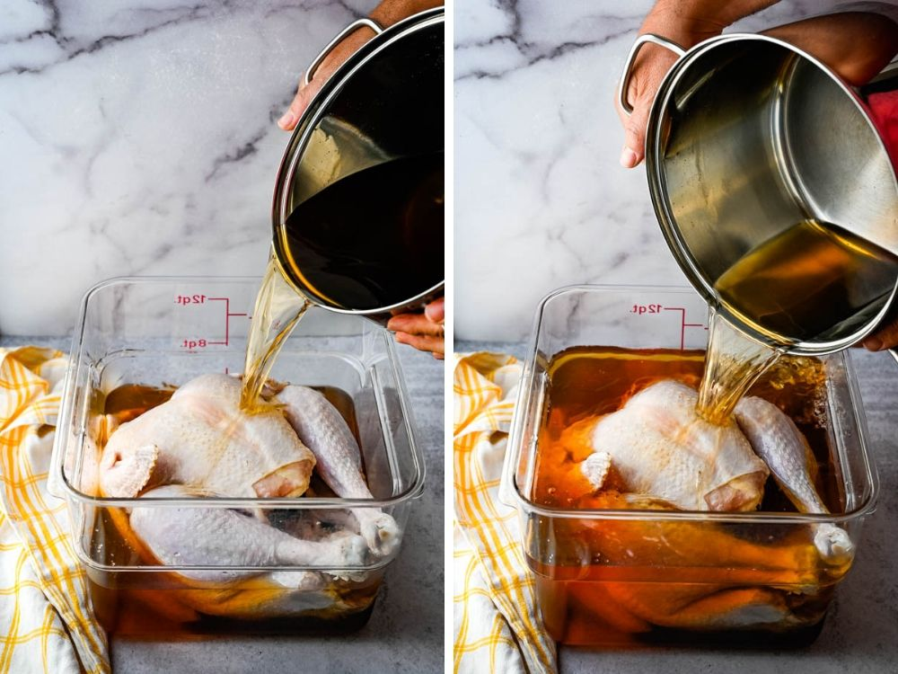 pouring bourbon maple brine over the turkey,