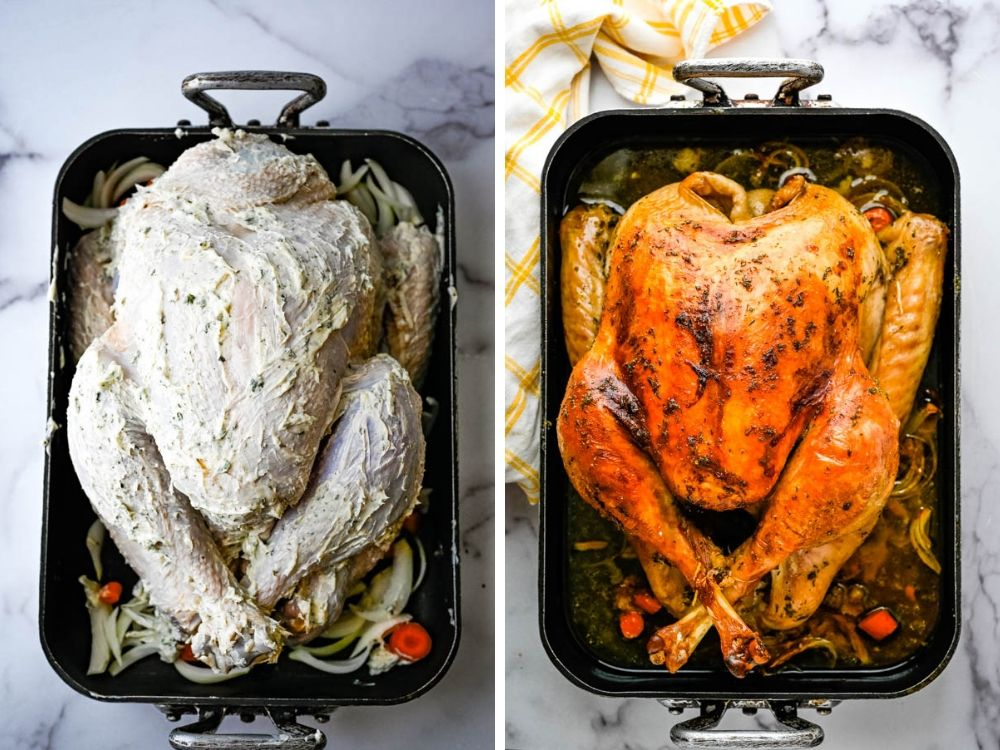 bourbon maple brined roast turkey before and after roasting.