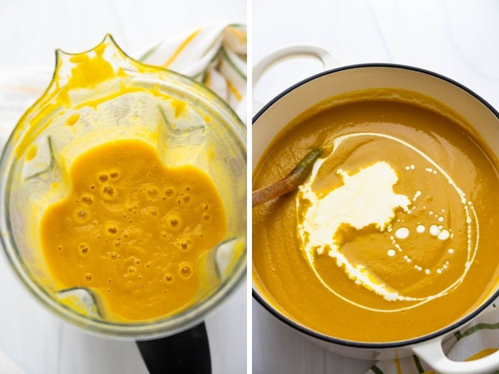 pumpkin squash soup in the blender, then adding cream in a stock pot.