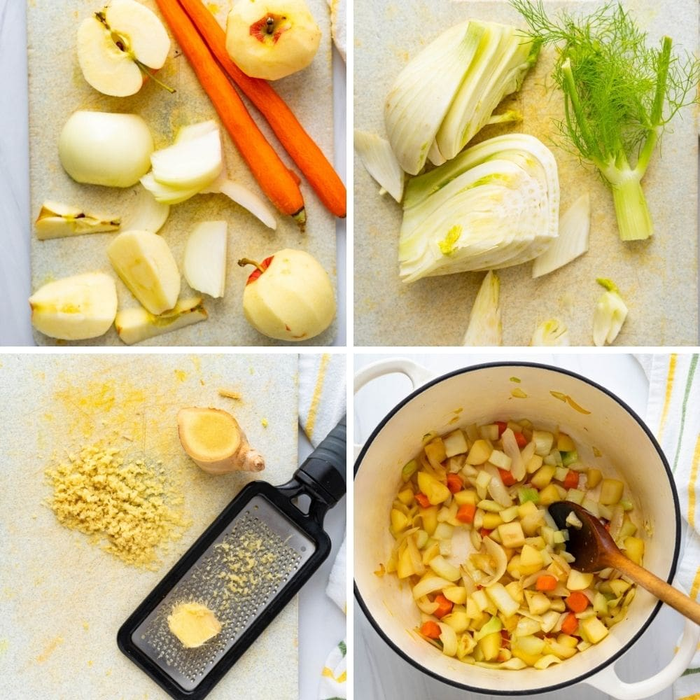 apples, carrots, fennel and ginger for the curried pumpkin soup.