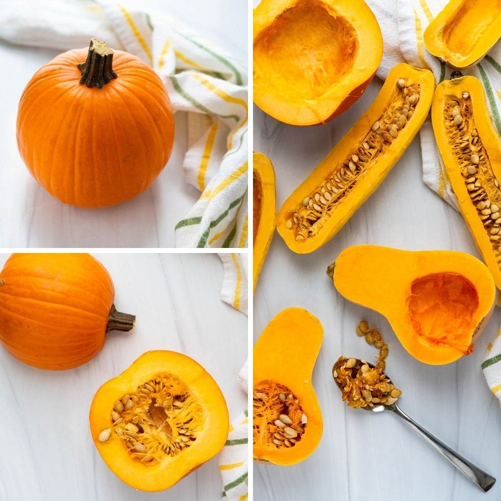 splitting baby sugar pumpkin and squash and removing the seeds to roast for the soup.