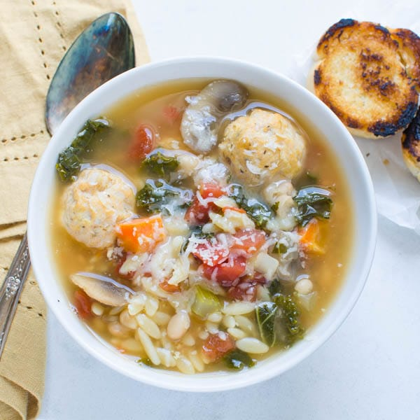 Kale, White Bean and Meatball Soup