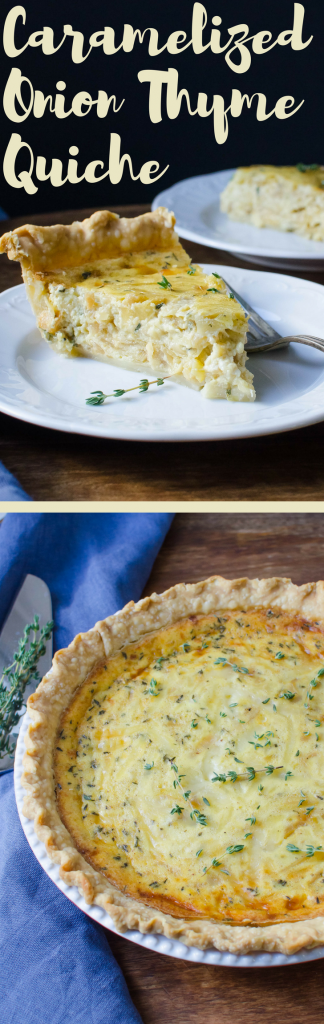 Need a foolproof quiche recipe? This Caramelized Onion and Thyme Quiche is it! A delicious vegetarian entree that you can make-ahead!